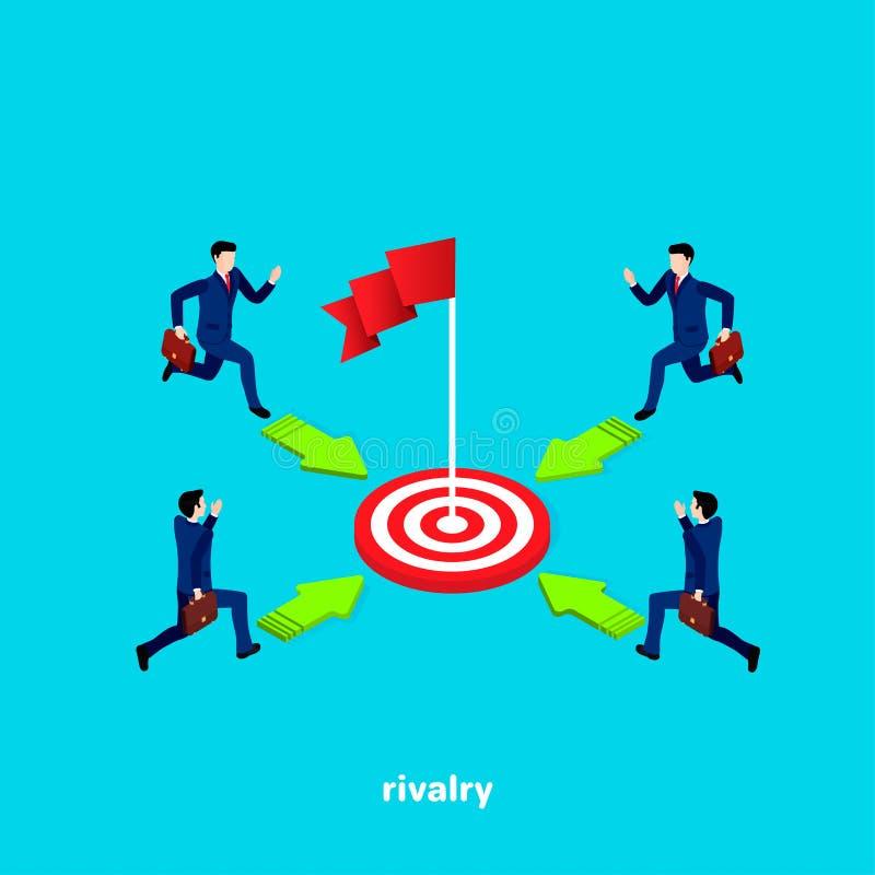 在事务的竞争,在两个商人之间的一次战斗,为岗位的一次战斗 向量例证