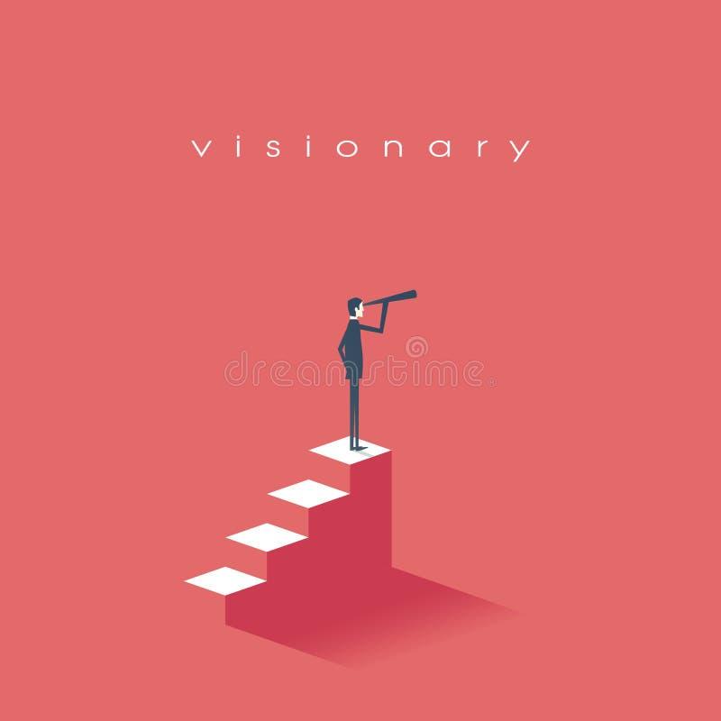 在事务的视觉概念与商人和望远镜传染媒介象,单眼 标志领导,战略 皇族释放例证