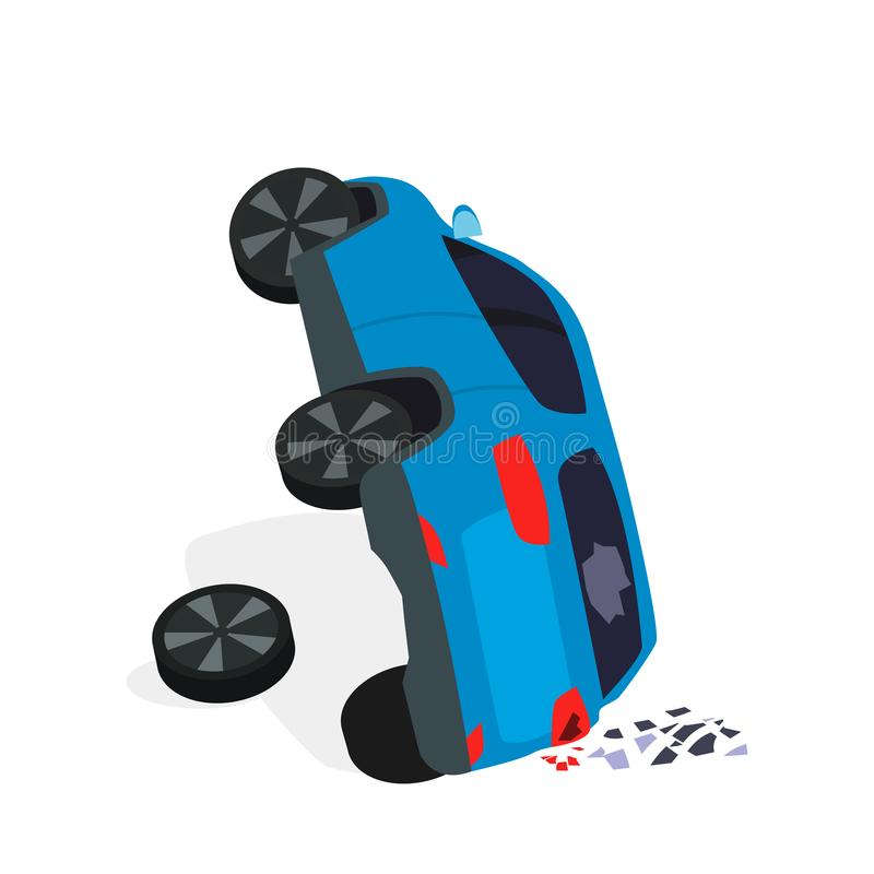 在事故以后的SUV 有一个撕下的轮子的被倒置的汽车 : 向量例证