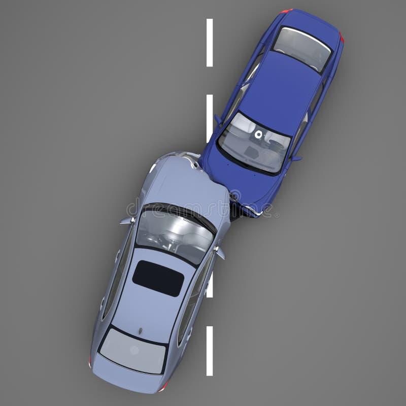 在事故的两辆汽车 皇族释放例证