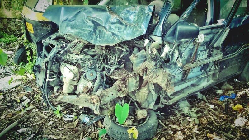 在事故以后的汽车 免版税库存照片