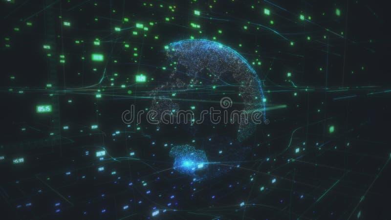 在事附近IOT数字地球数据地球摘要3D翻译网络连接计算的互联网的大数据云彩  库存例证