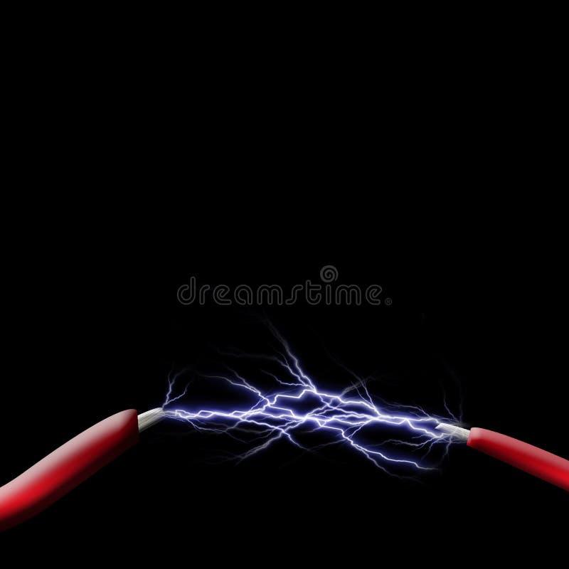 在二个电汇之间的火花 向量例证