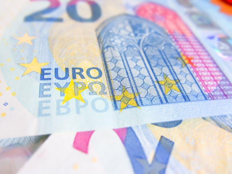 在二十欧元钞票的焦点 免版税库存图片