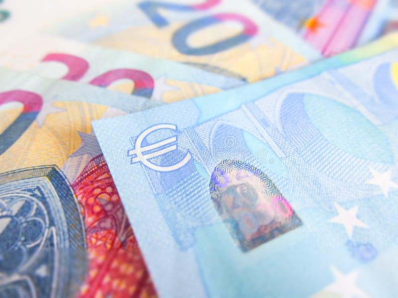 在二十欧元钞票的焦点 免版税库存照片