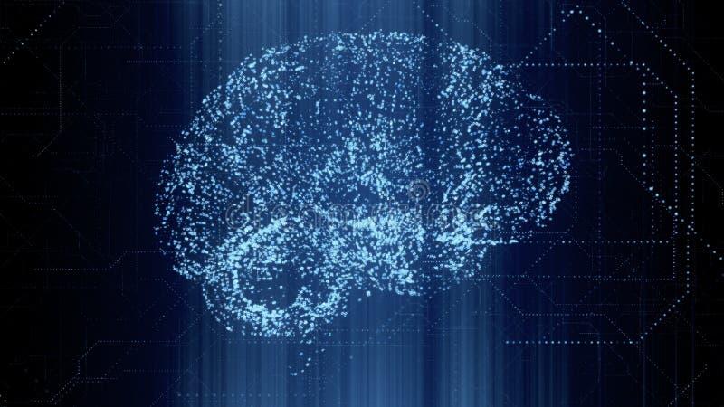 在二进制数据的数字式人工智能明亮的蓝色脑子apperas扫描 皇族释放例证