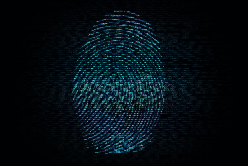 在二进制编码的背景的指纹 库存图片