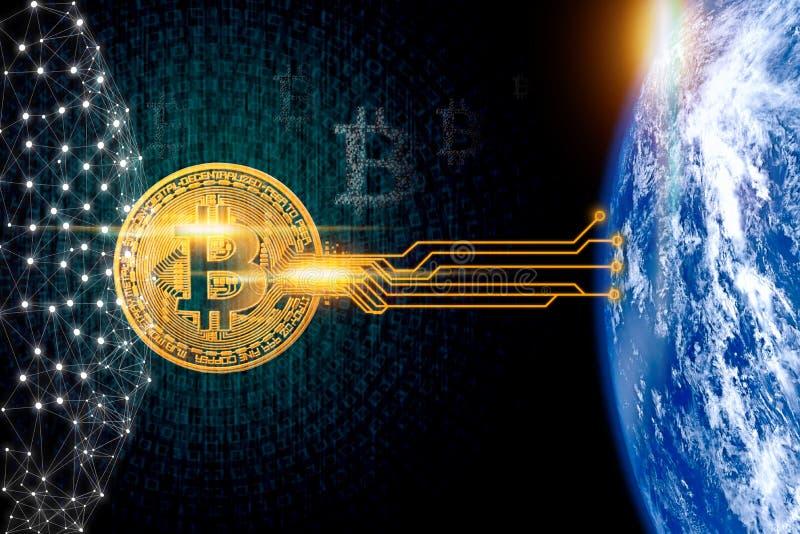 在二进制背景的Bitcoin与全球性连接 库存例证
