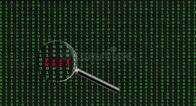 在二进制计算机编码内被找到的密码 免版税图库摄影