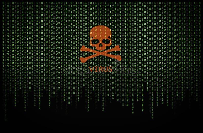 在二进制计算机编码的红色头骨病毒 库存图片