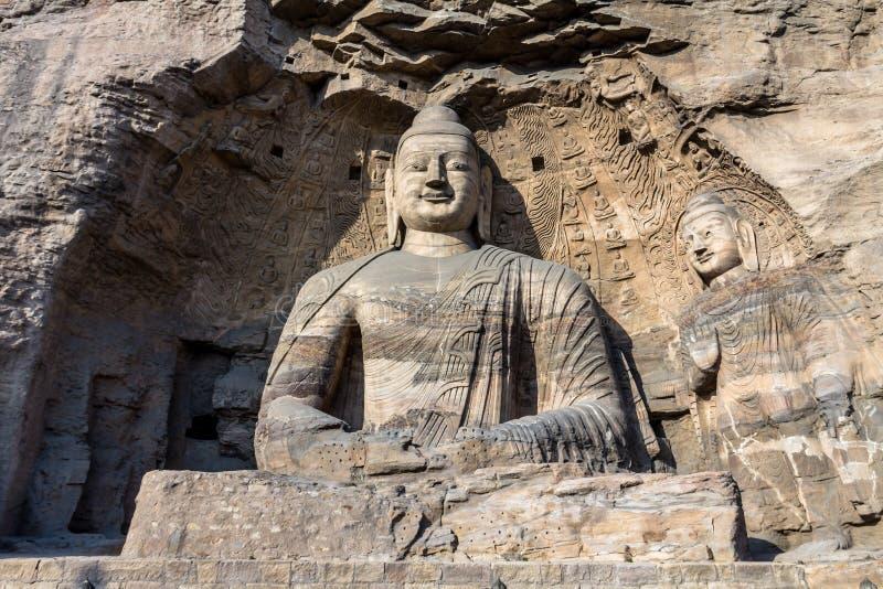 在云冈洞穴的菩萨雕象在大同,中国 免版税库存图片