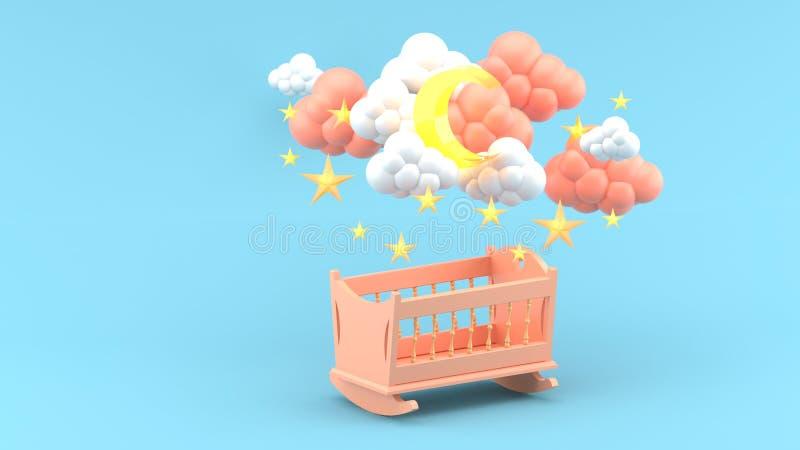 在云彩、月亮和星下的桃红色婴孩摇篮在蓝色背景 免版税库存图片