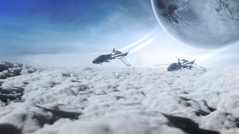 在云彩上的两架喷气机 向量例证