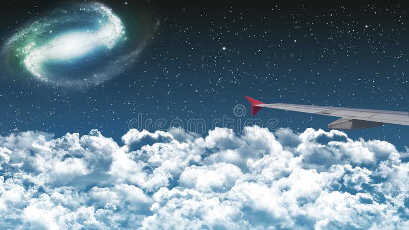 在云彩上的商业飞机飞行在剧烈的夜空wi 库存照片