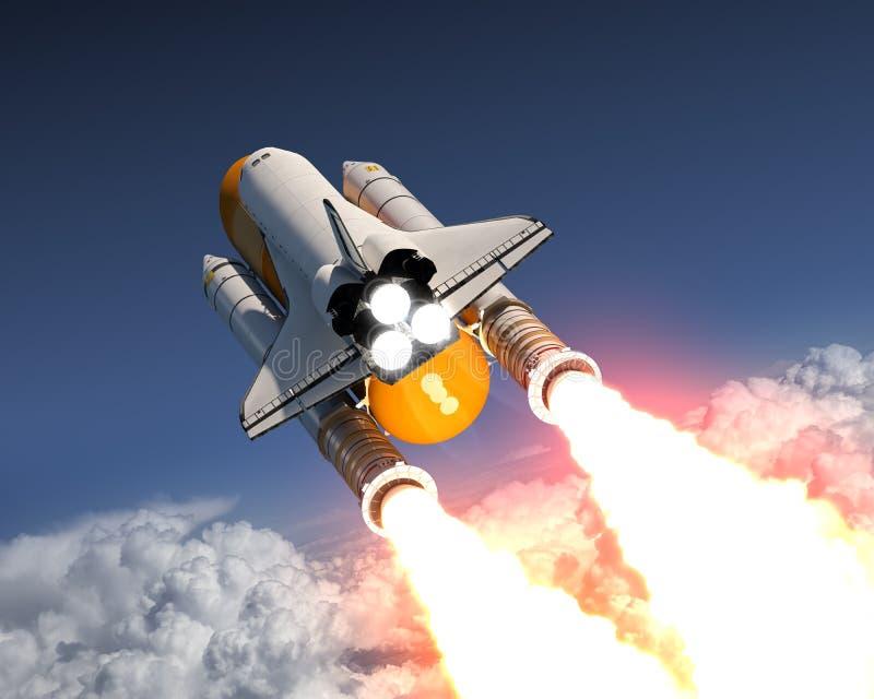 在云彩上的航天飞机发射 皇族释放例证