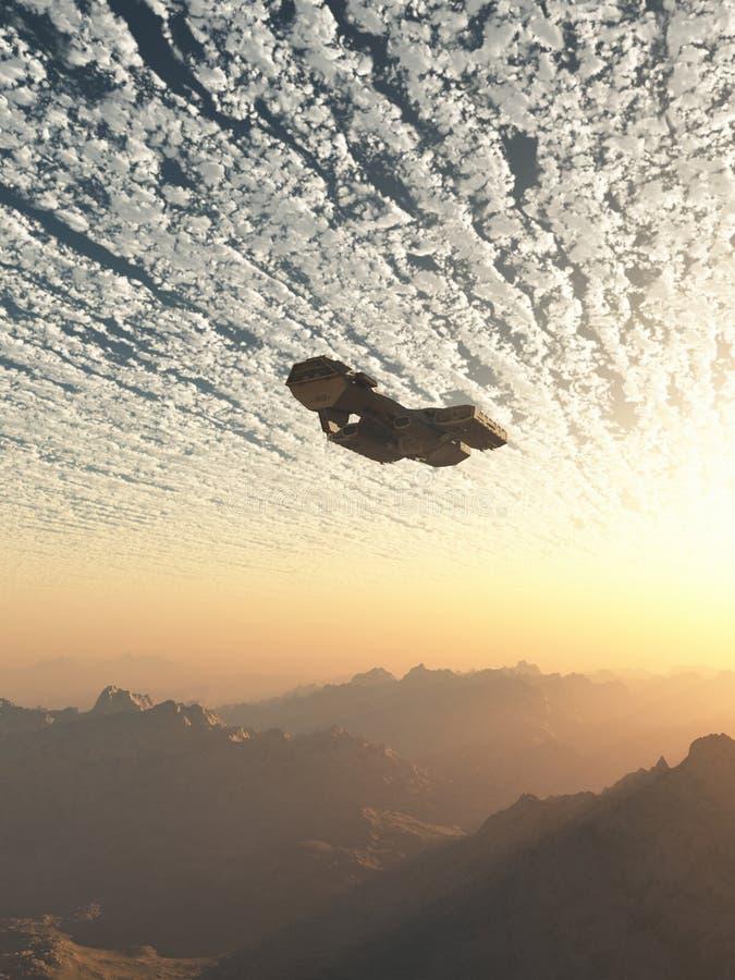 在云彩下的太空飞船 皇族释放例证