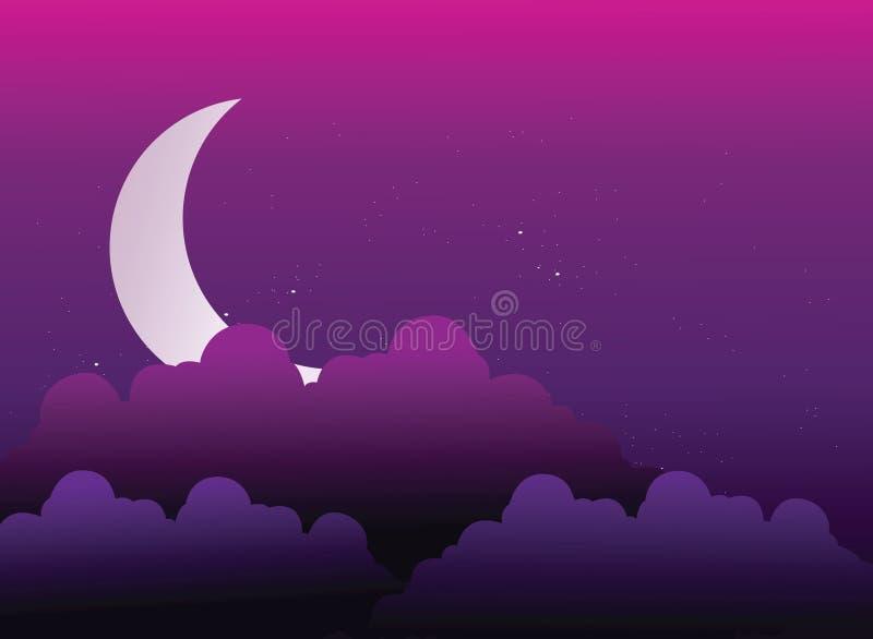 在云彩之后隐藏的月亮 皇族释放例证