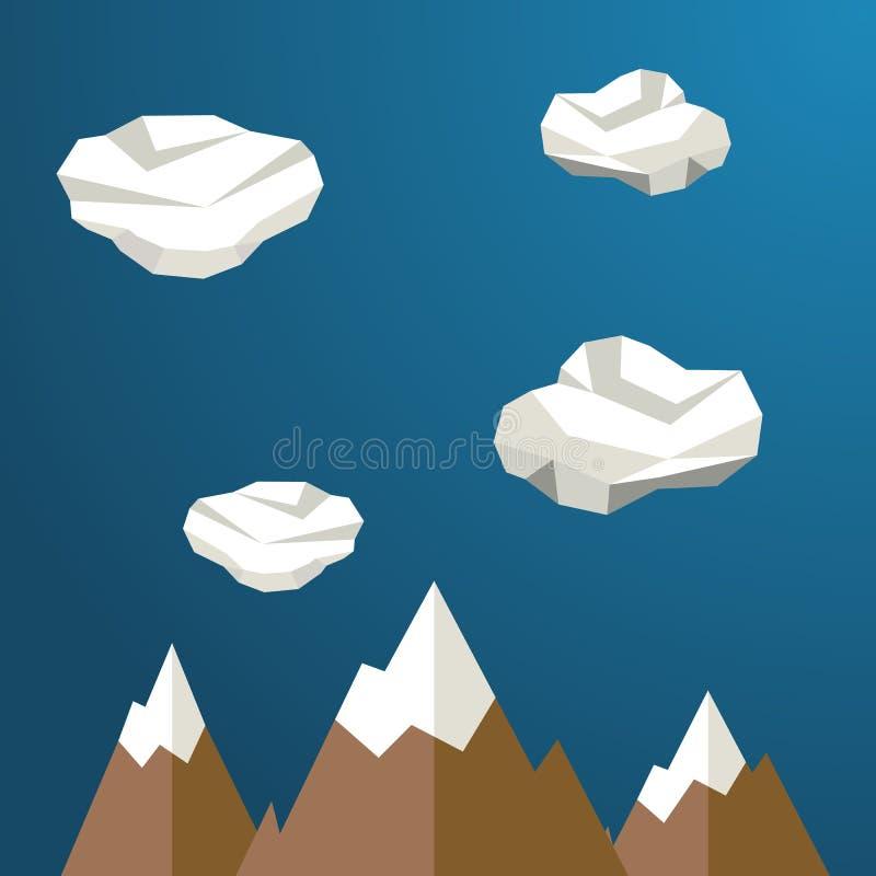 在云彩之间的山 现代多角形形状背景,低多 皇族释放例证