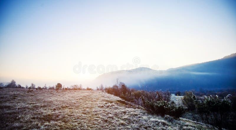 在云彩和雾的山 喀尔巴阡山脉的地点,乌克兰,欧洲 探索地球秀丽  云彩早晨日落 库存照片