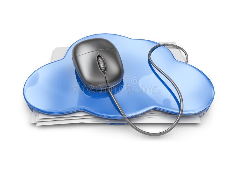 在云彩文件夹的文件存储。3D象  向量例证