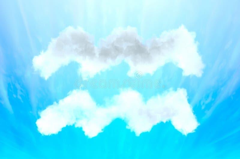 在云彩材料-宝瓶星座的占星术标志 库存照片
