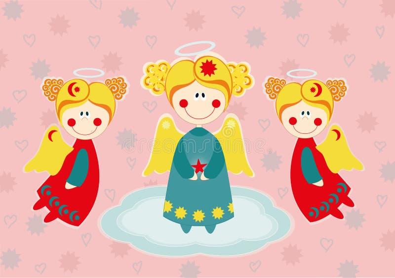 在云彩的三个天使 向量例证
