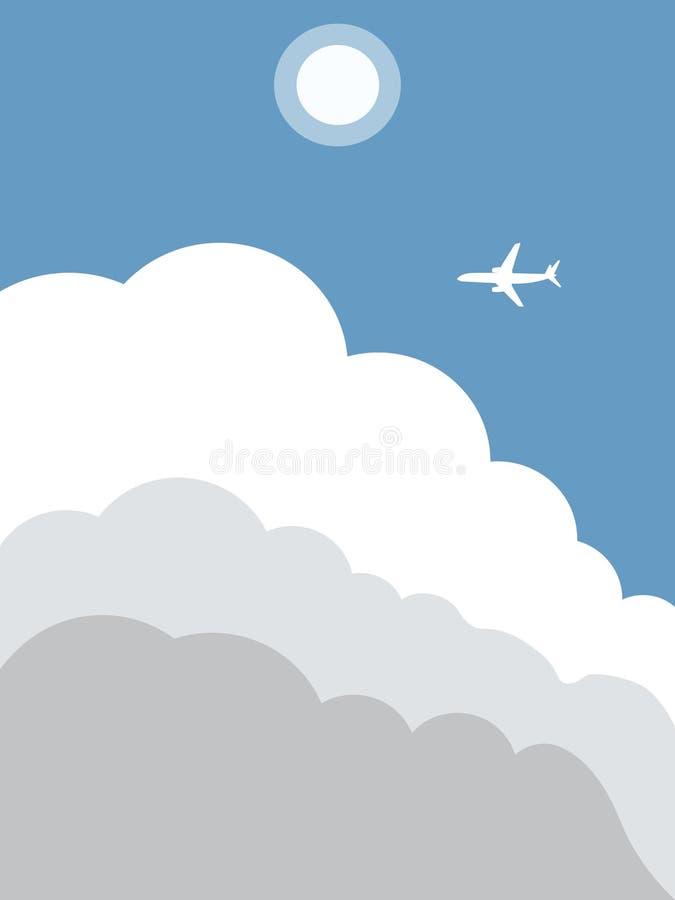 在云彩的平面飞行 库存例证