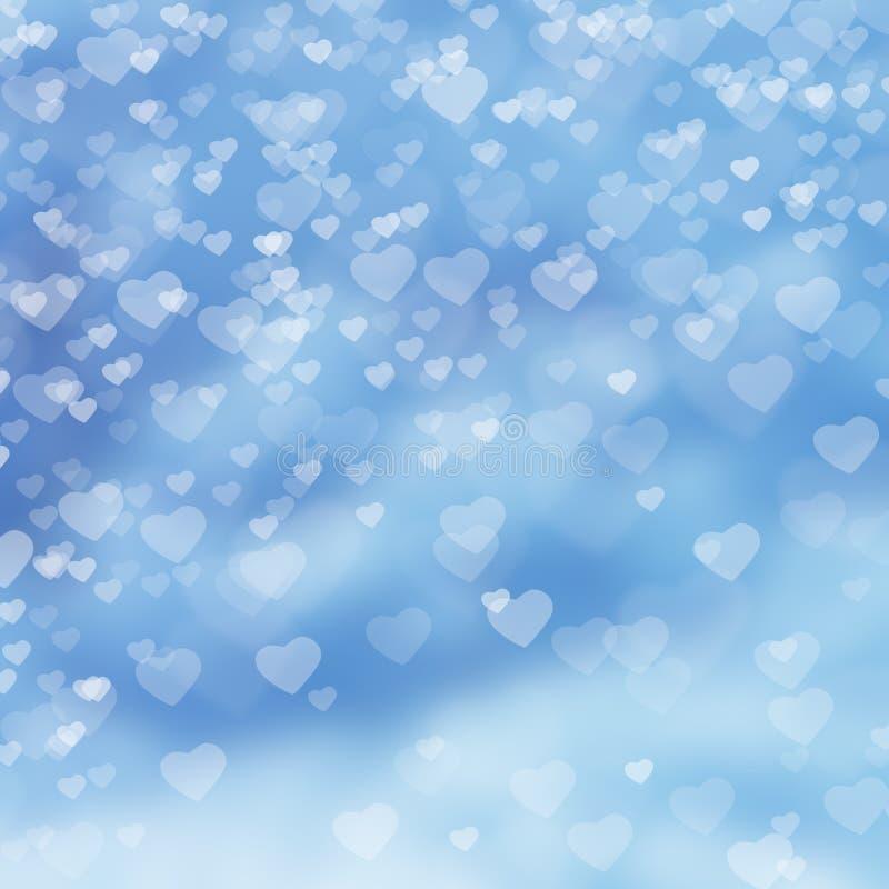 在云彩的心脏在蓝色背景 免版税库存图片
