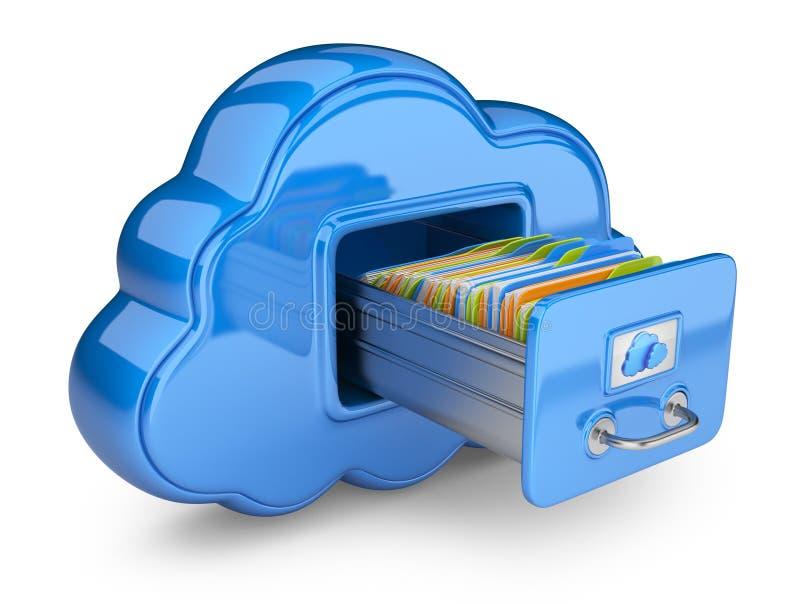 在云彩的文件存储。 3D查出的图标 向量例证