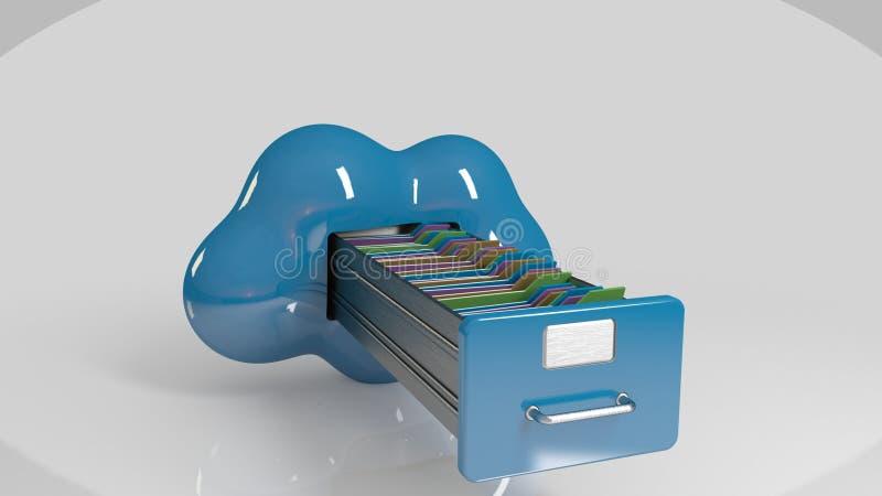 在云彩的文件存储 3d计算机图标 皇族释放例证