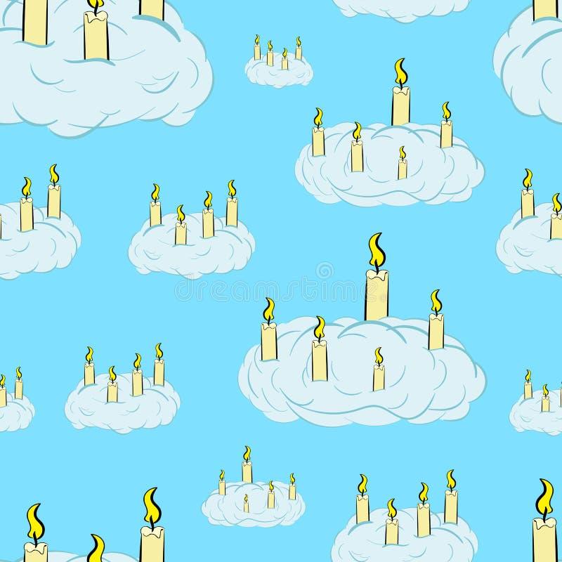 在云彩的无缝的蜡烛 向量例证