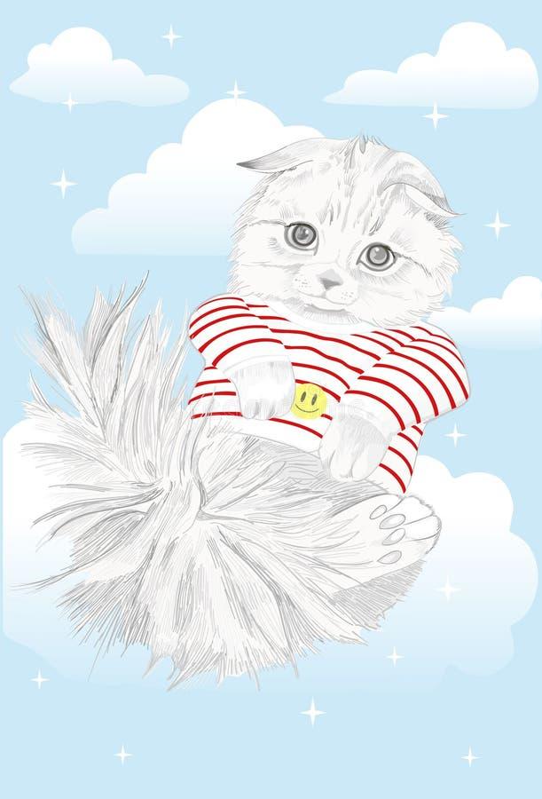 在云彩的猫 库存例证