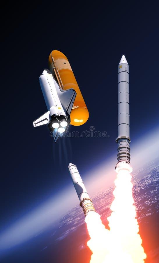 在云彩的航天飞机坚实火箭队助推器分离 向量例证