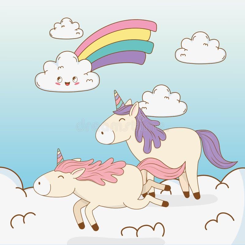 在云彩的逗人喜爱的童话独角兽与彩虹 向量例证