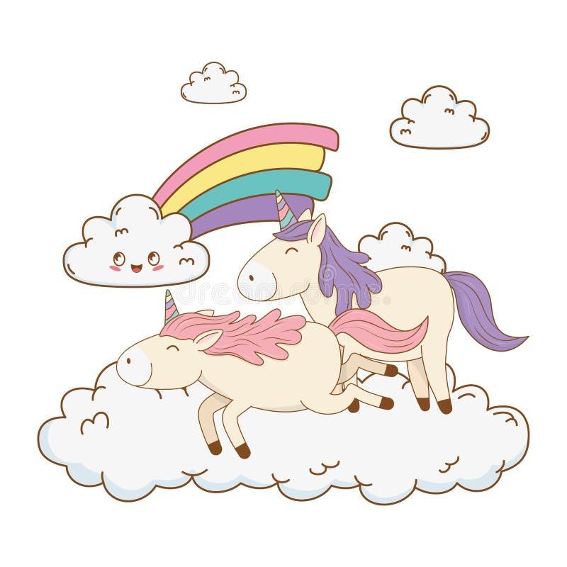 在云彩的逗人喜爱的童话独角兽与彩虹 皇族释放例证