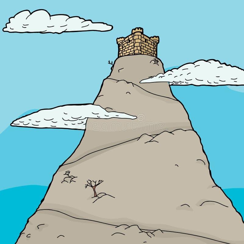 在云彩的金黄城堡 向量例证