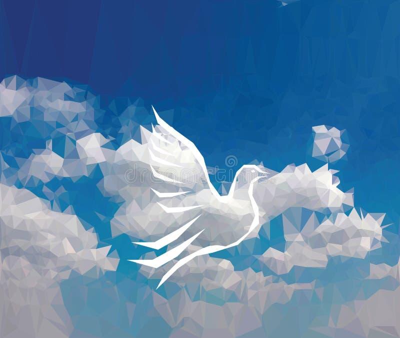 在云彩的鸟 向量例证