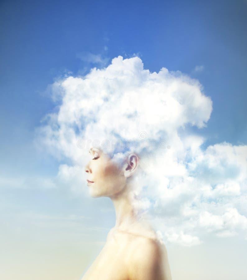在云彩的头脑 库存照片