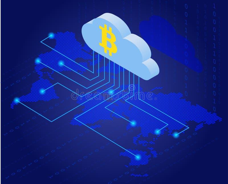 在云彩的Bitcoin 开采等量平的传染媒介概念的Bitcoin 云彩技术 虚拟的货币 isometry平的3d 库存例证