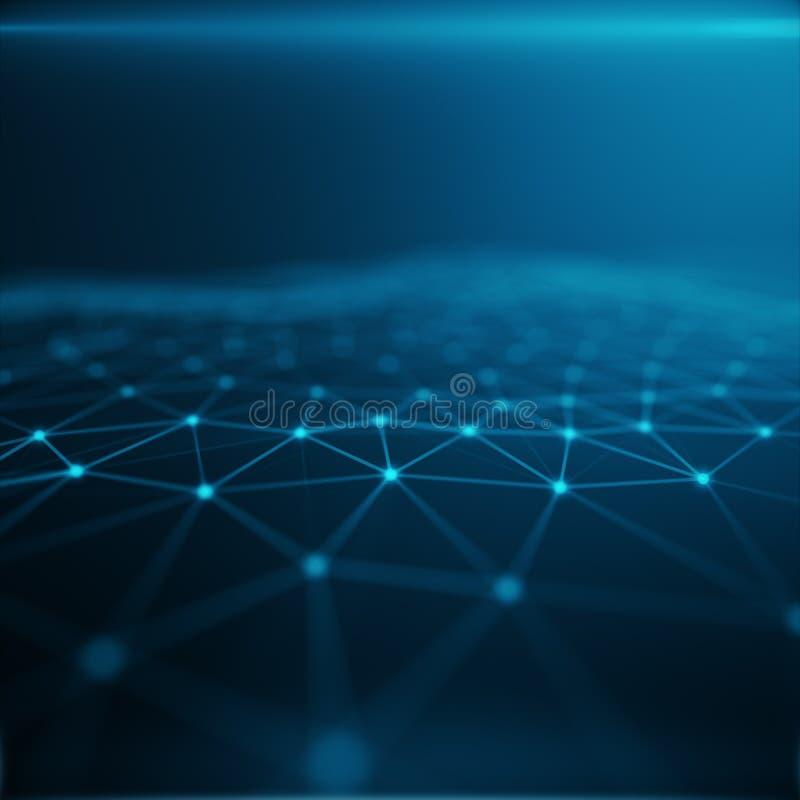 在云彩计算机,蓝色小点网络,抽象背景,网络代表的概念的技术连接 皇族释放例证