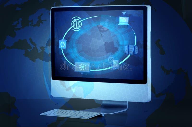 在云彩计算的概念的屏幕 免版税库存照片