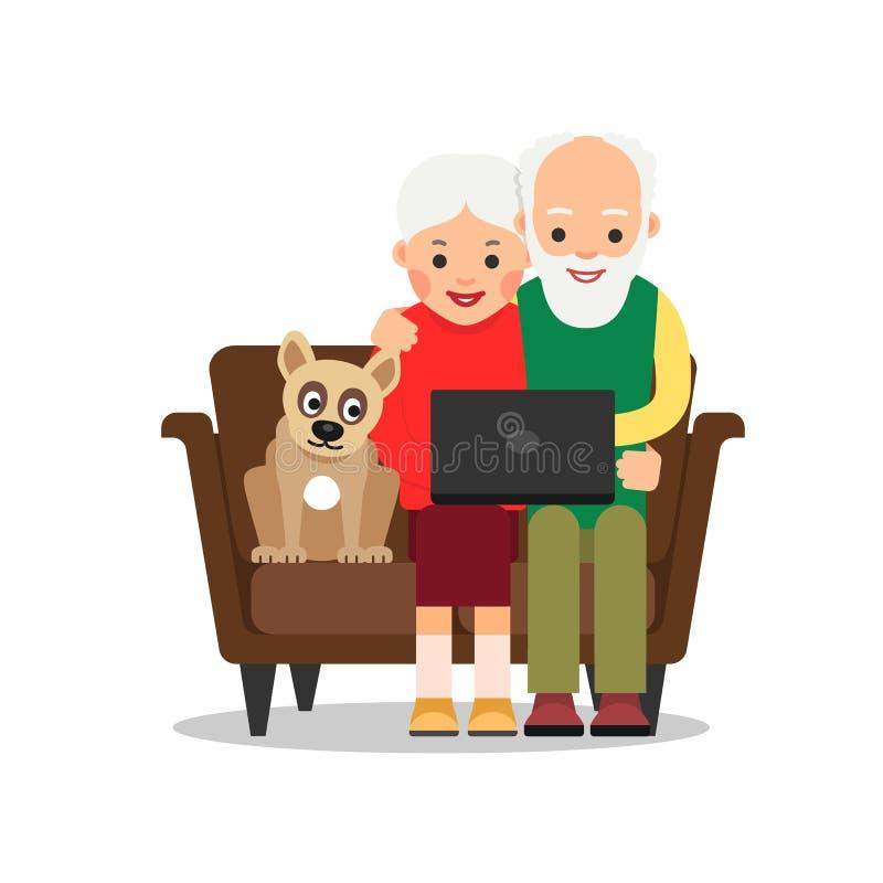 在互联网上的前辈 使用膝上型计算机,年长夫妇,祖父母坐长沙发并且观看在互联网上的新闻 附近的谎言狗和神色 向量例证