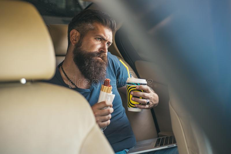 在互联网上的收入 3d美好的尺寸例证工作三非常 男性理发师关心 有胡子的成熟行家 有胡子的人 残酷白种人行家 免版税库存图片