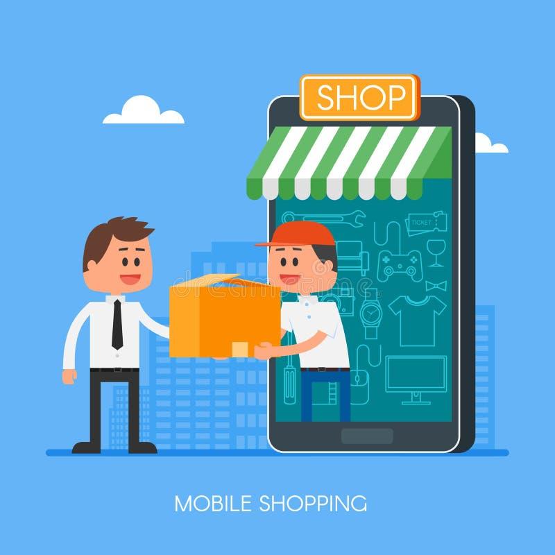 在互联网上的网上购物使用流动智能手机 在平的样式设计的快速的交付概念传染媒介例证 库存例证