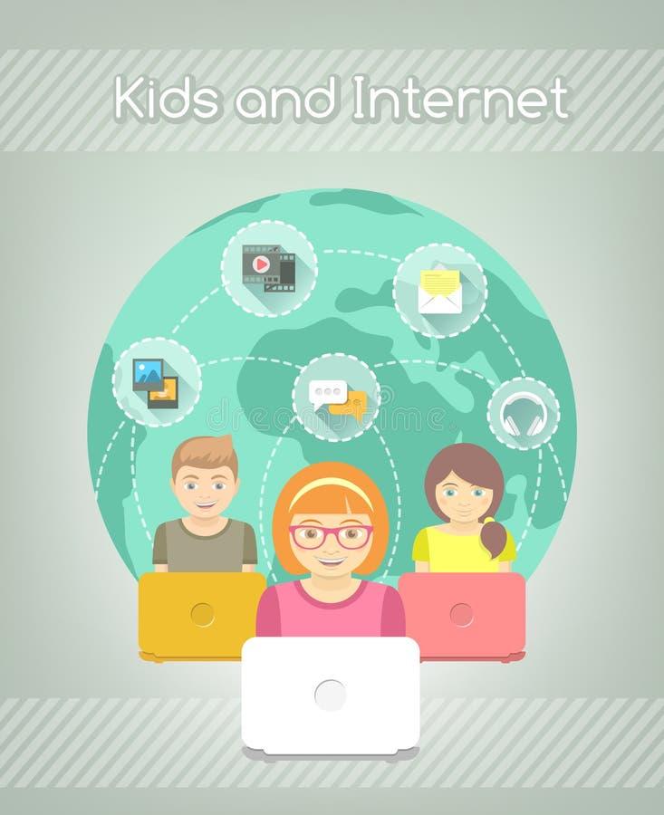 在互联网世界的孩子 库存例证