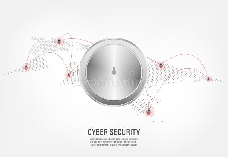 在互联网黑客背景的闭合的挂锁 库存例证