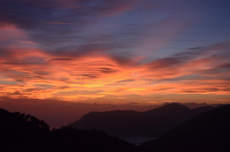 在五乡地,意大利的日落 免版税图库摄影