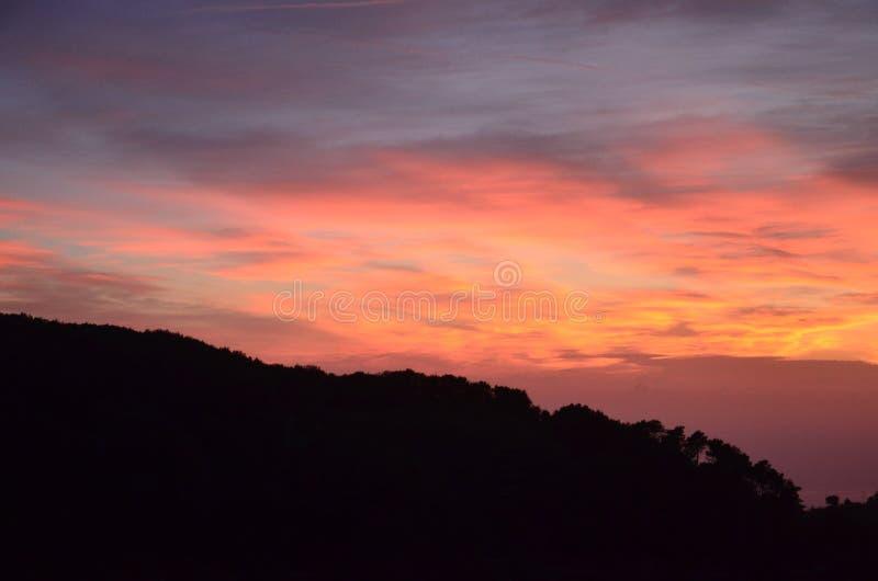 在五乡地,意大利的日落 库存照片