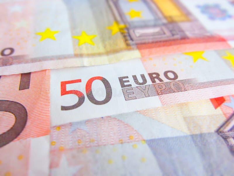 在五十欧元钞票的焦点 免版税库存照片
