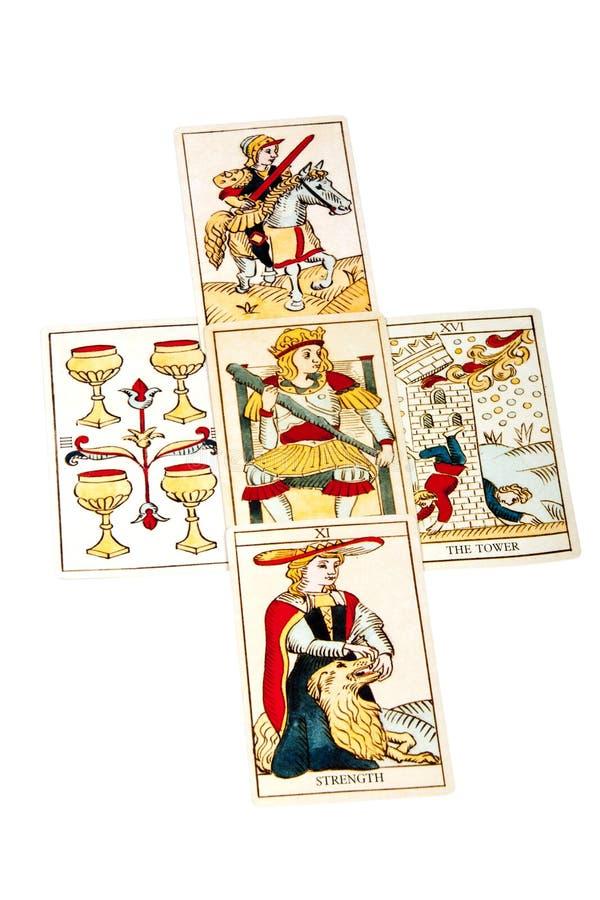 在五开始的占卜用的纸牌被传播 库存照片